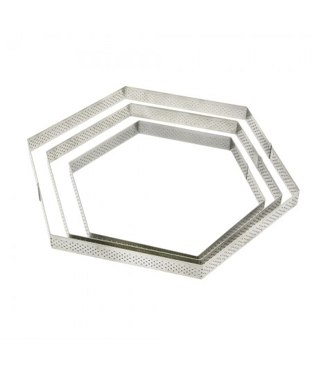 De Buyer - Stainless steel perforated tart rings - Hexagonal