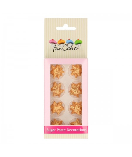 FunCakes - Sugar Paste Decorations Stars Gold Set/24