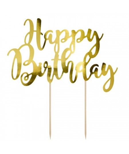 Cake Topper Happy Birthday - Gold