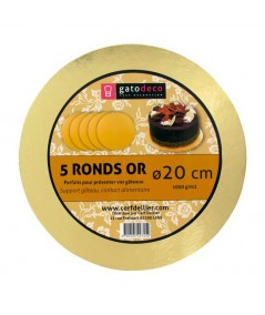 5 Golden Round Cakeboards 20cm