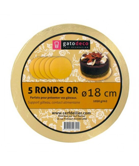 5 Golden Round Cakeboards 18cm