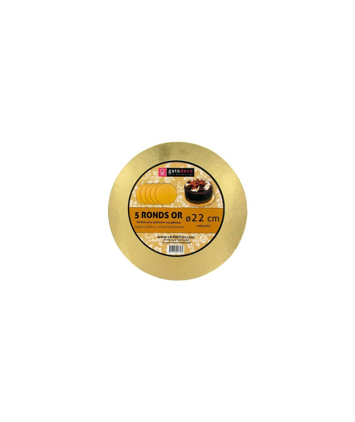 5 Golden Round Cakeboards 22cm