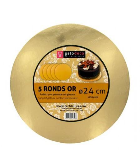 Golden Round Cakeboards 24cm