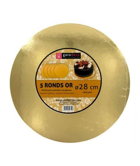 Golden Round Cakeboards 28cm