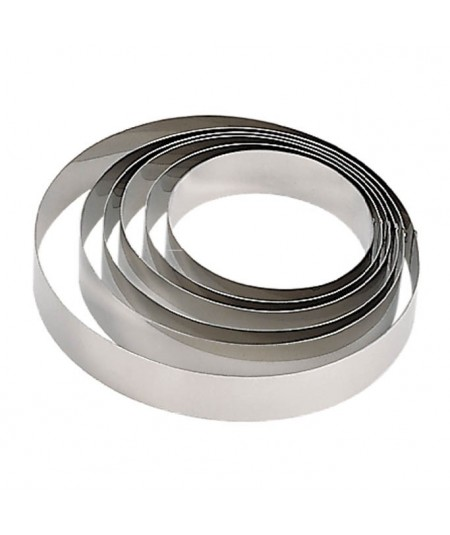 De Buyer - Stainless steel round tart ring, height 2 cm, rolled edge